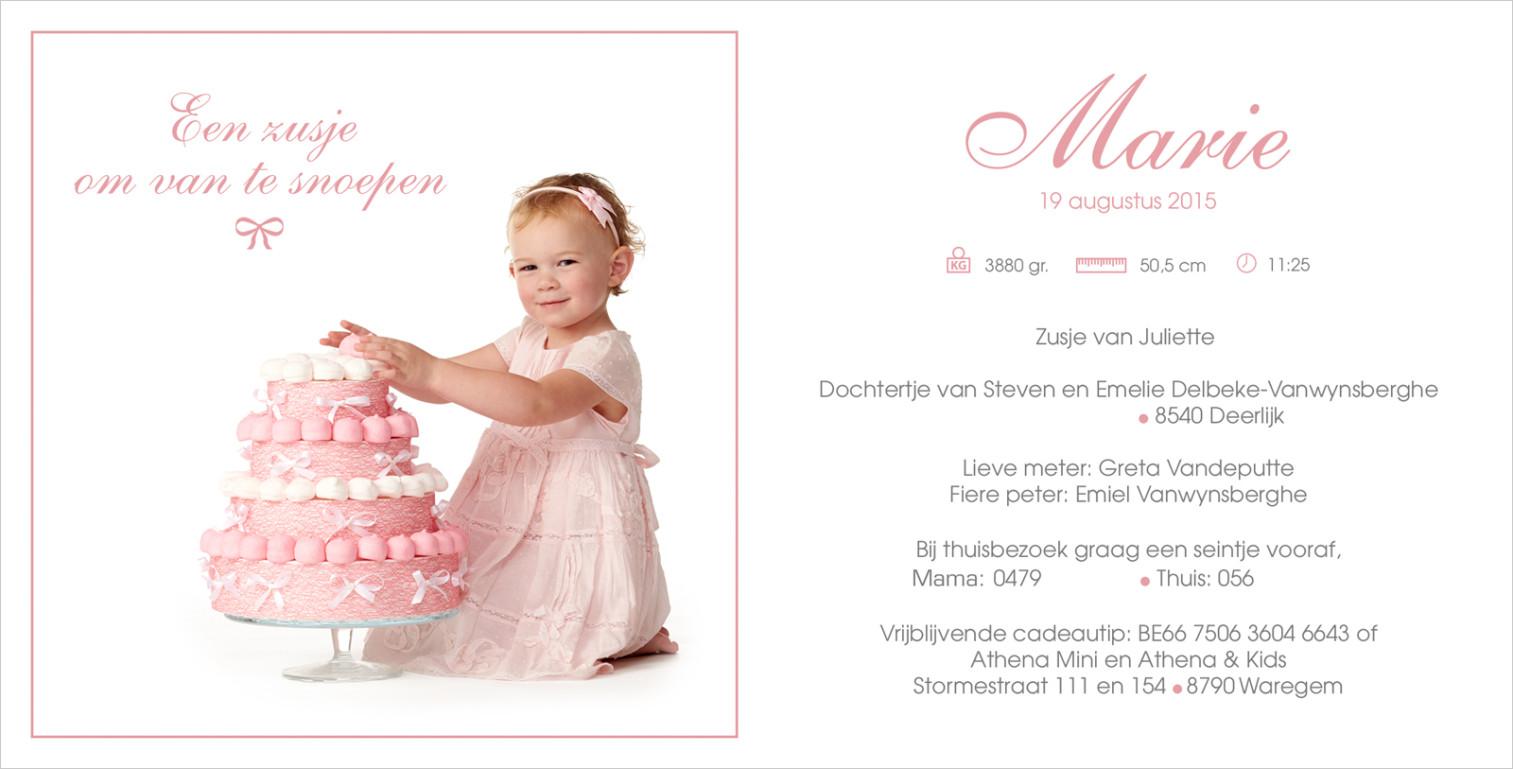 Geboortekaartje met foto van Marie