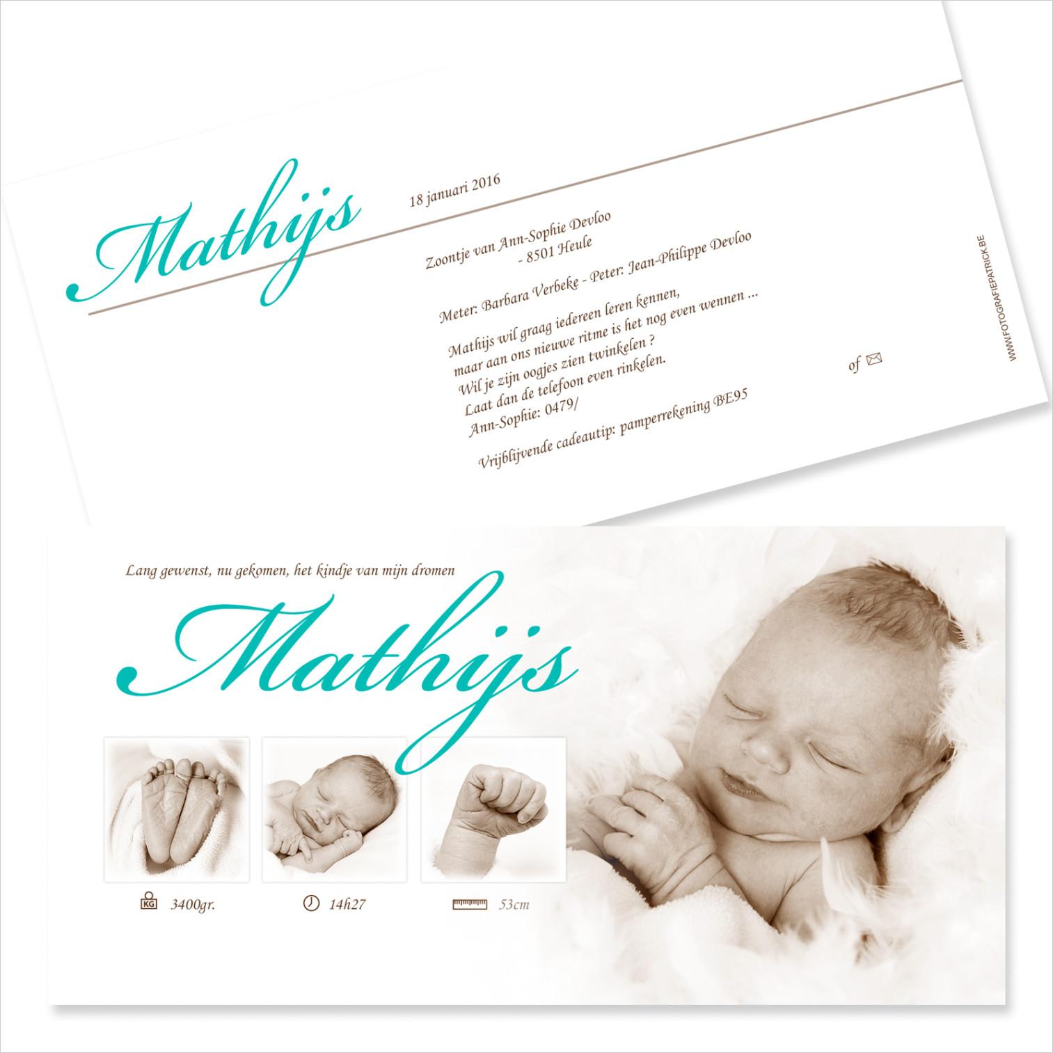 Geboortekaartje met foto van Mathijs