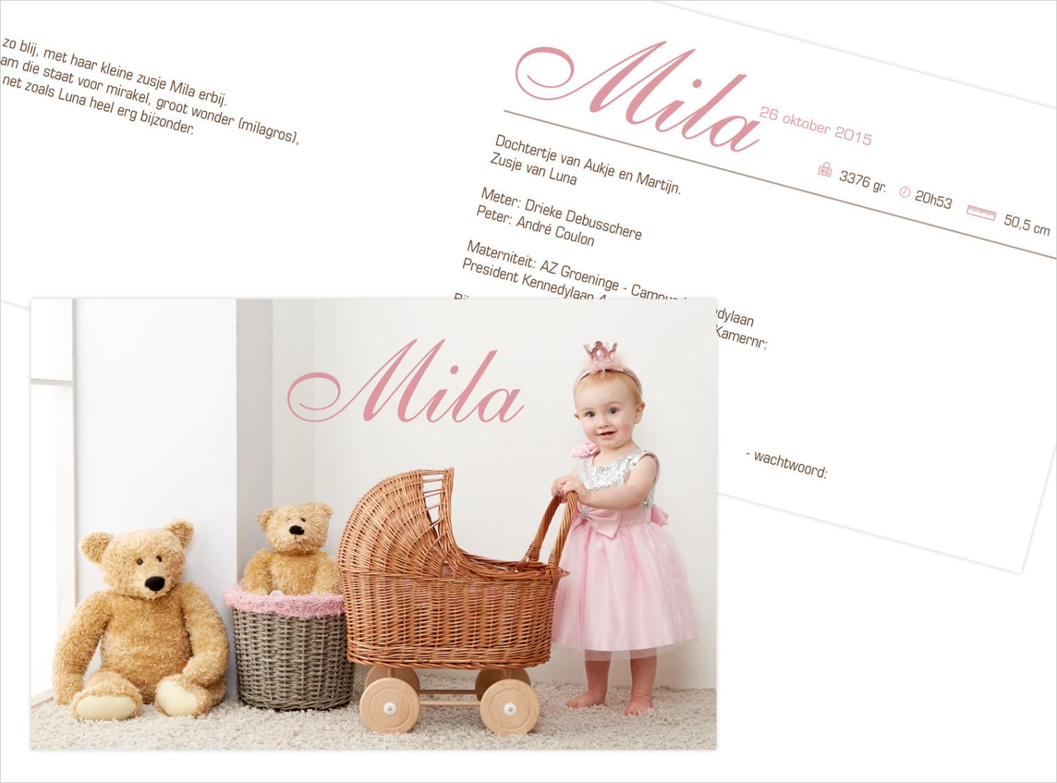 Geboortekaartje met foto van Mila
