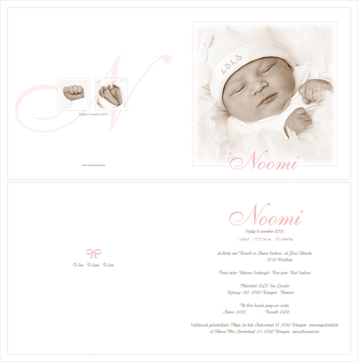 Geboortekaartje met foto van Noomi