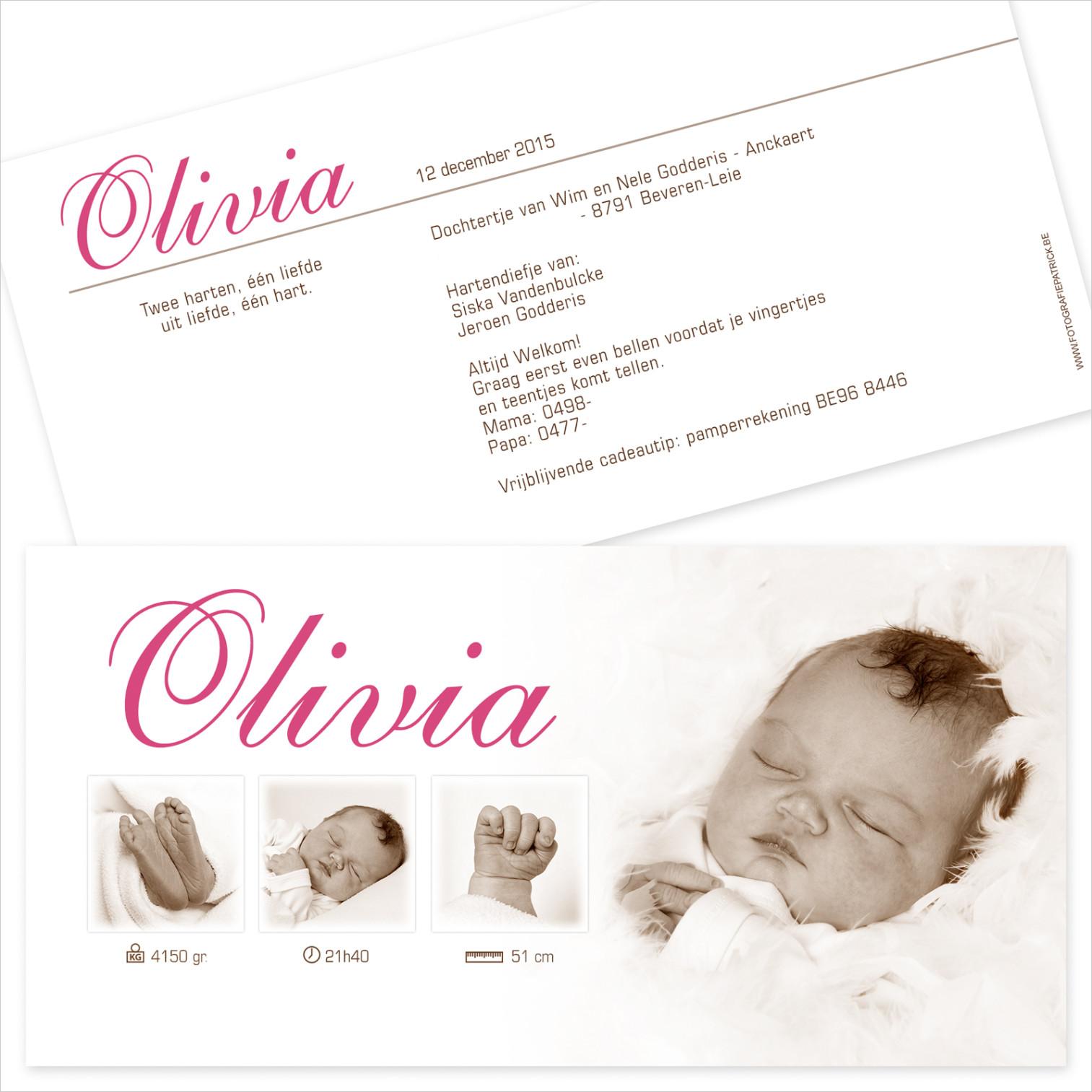 Geboortekaartje met foto van Olivia