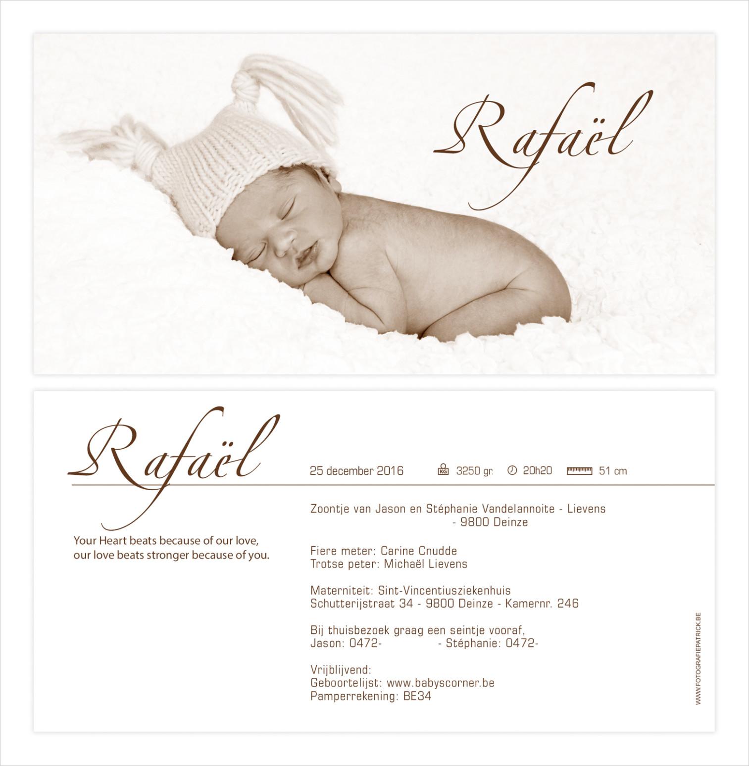 Geboortekaartje met foto van Rafael