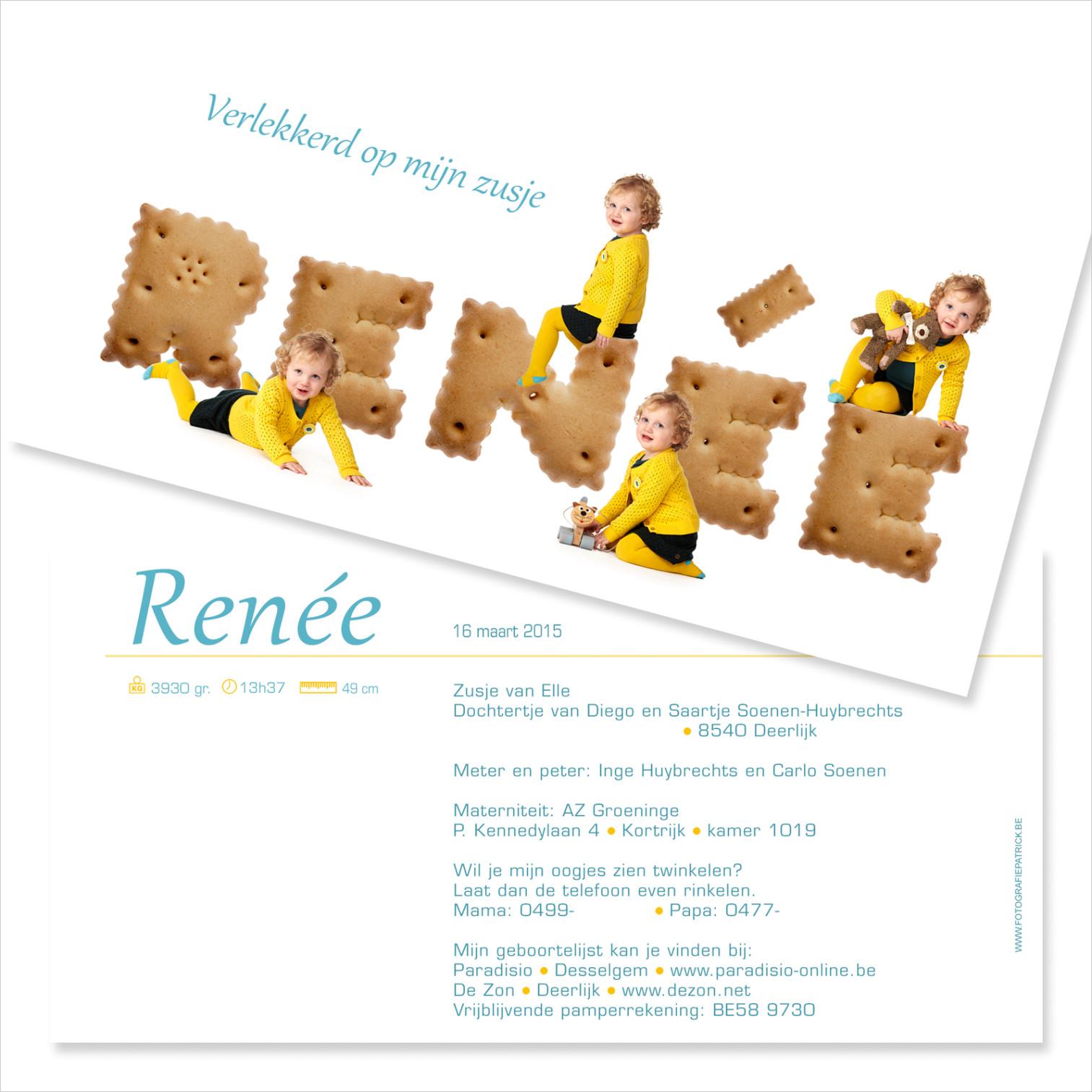 Geboortekaartje met foto van Renée