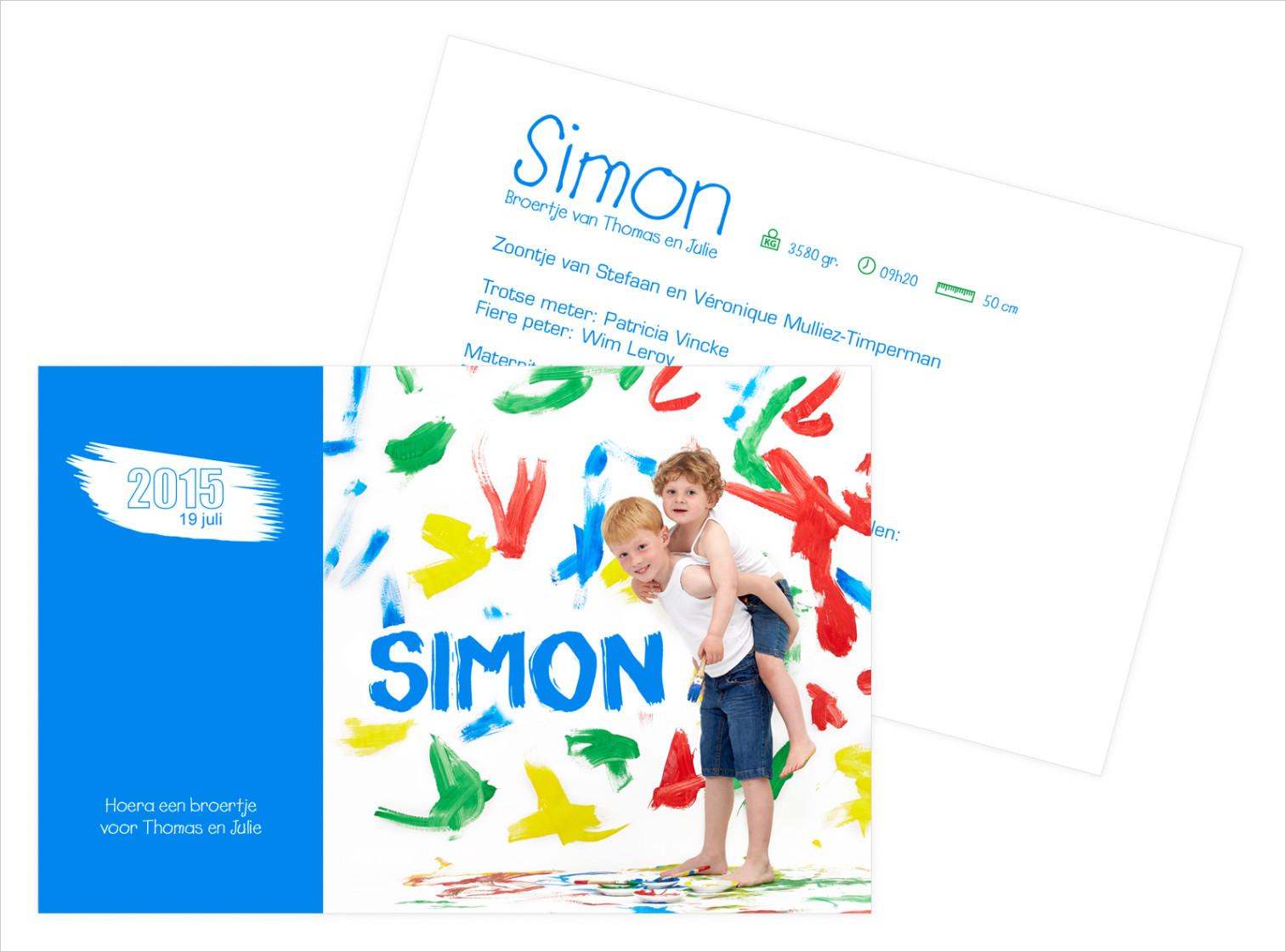 Geboortekaartje met foto van Simon