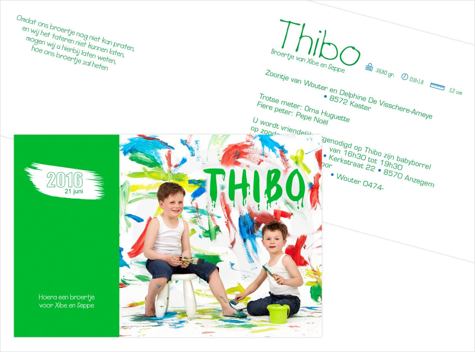 Geboortekaartje met foto van Thibo