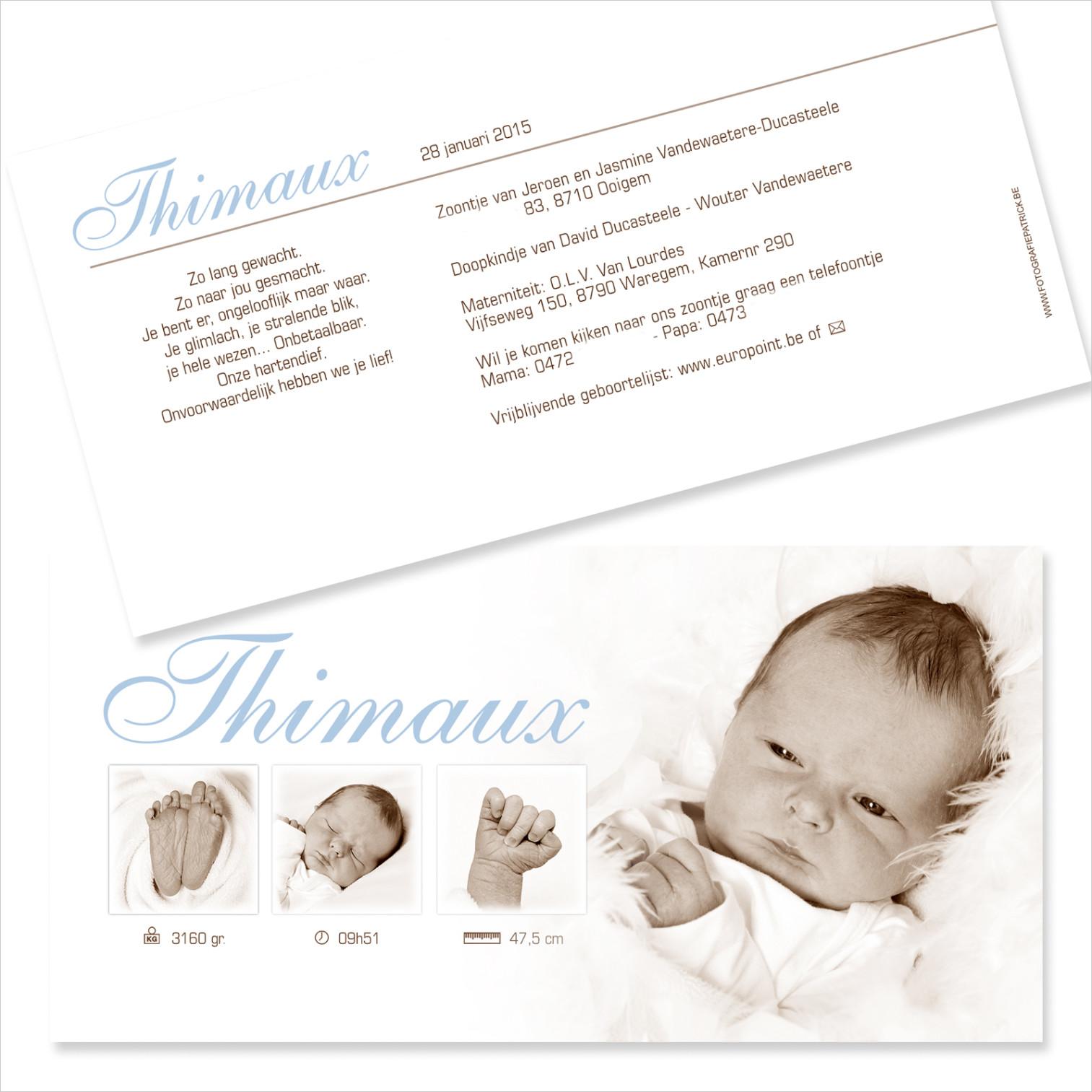 Geboortekaartje met foto van Thimaux