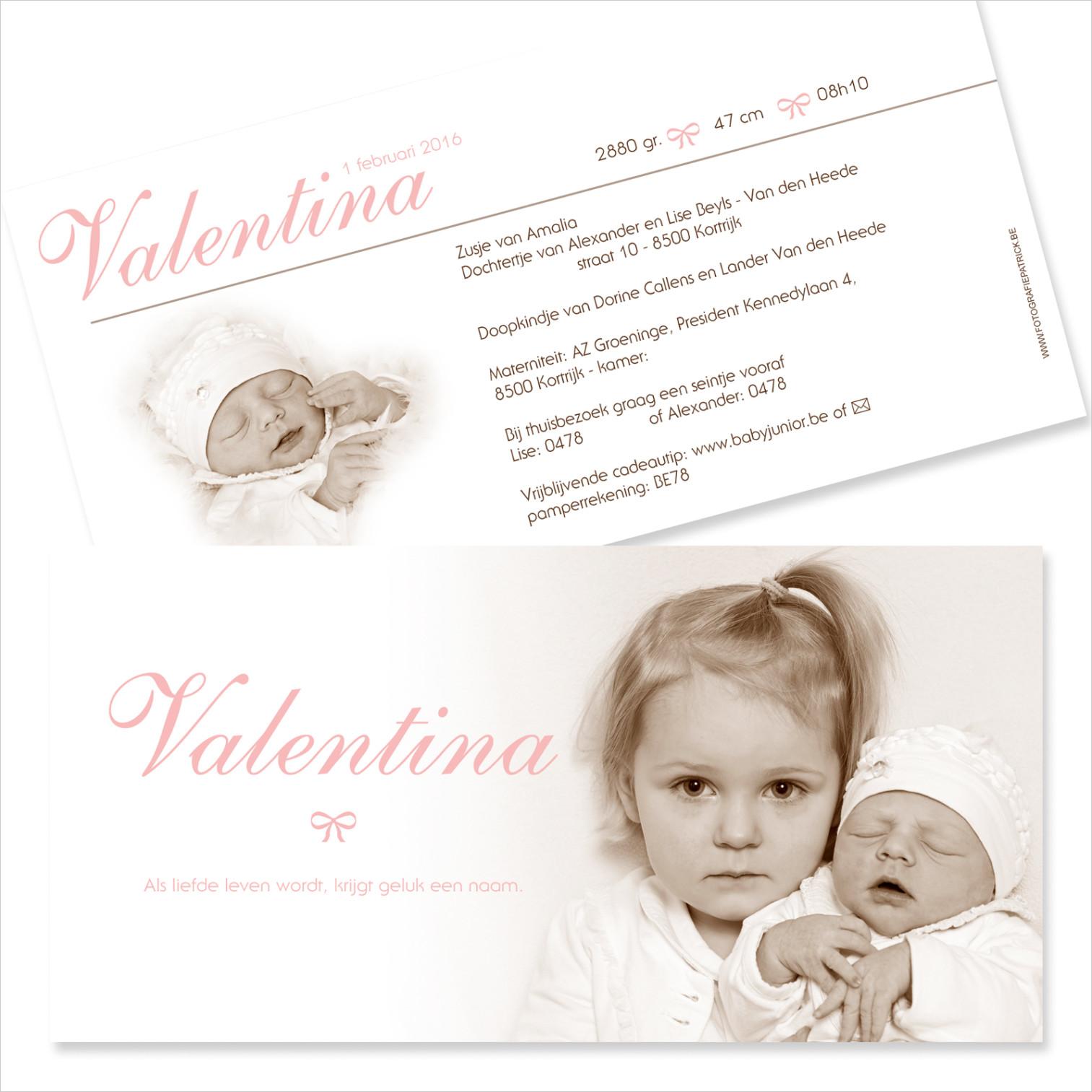 Geboortekaartje met foto van Valentina