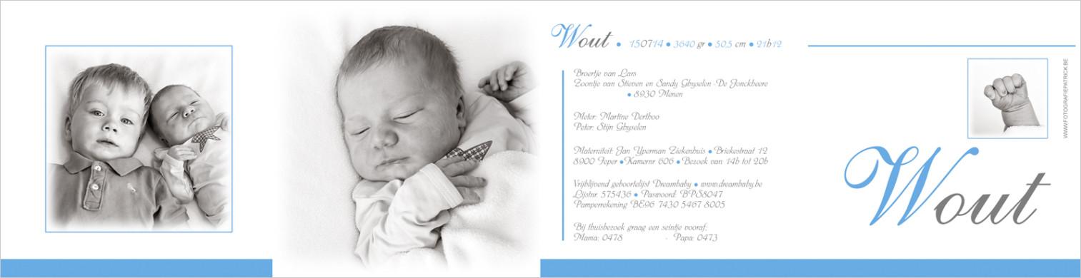 Geboortekaartje met foto van Wout