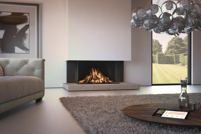 Dru Maestro 105 driezijdige gasinbouwhaard met eco-wave bruine houtset ontspiegeld glas