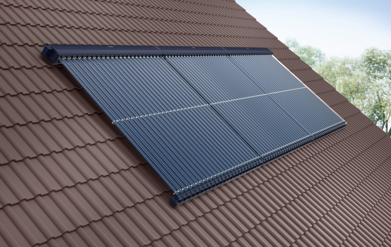 viessmann vitosol 300-T zonnepanelen op schuin dak voor zonneboiler sanitair warm water