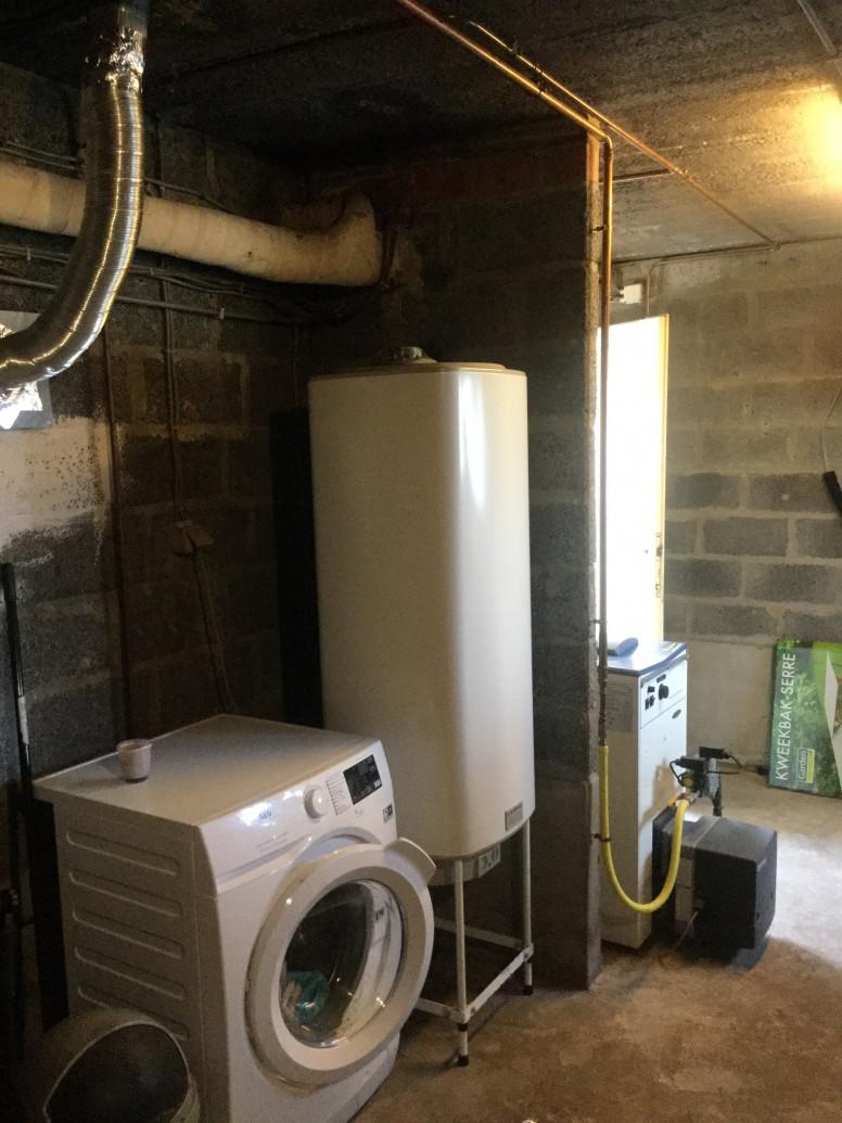 oude situatie cv-ketel met boiler voor vervanging door een brandstofcel
