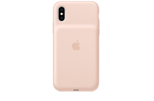 https://dpyxfisjd0mft.cloudfront.net/lab9-2/AirPods%20%26%20iPhone%20%26%20AW%20cases/Apple%20iPhone%20XS%20Smart%20Battery%20Case%20-%20Pink%20Sand.jpg?1553247199&w=511&h=337