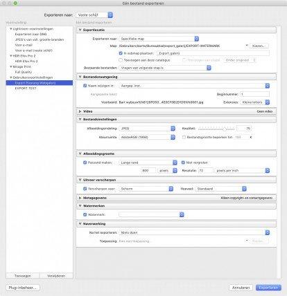 Web Galerij Upload uit Adobe LR