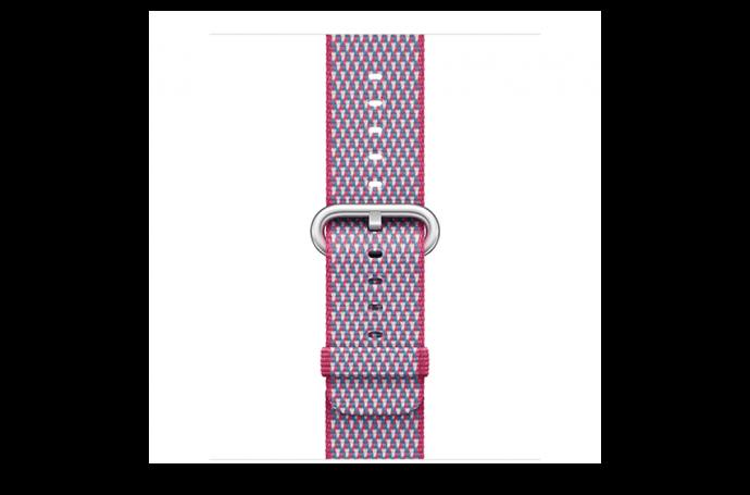 watchband-bessenrood geruit-geweven-42mm.png