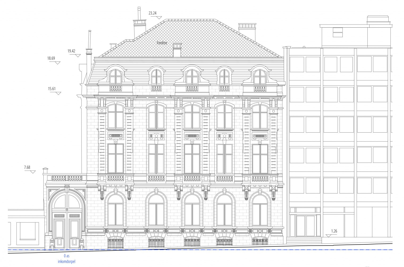 The Mérode, Elsene | 2D drawings facade
