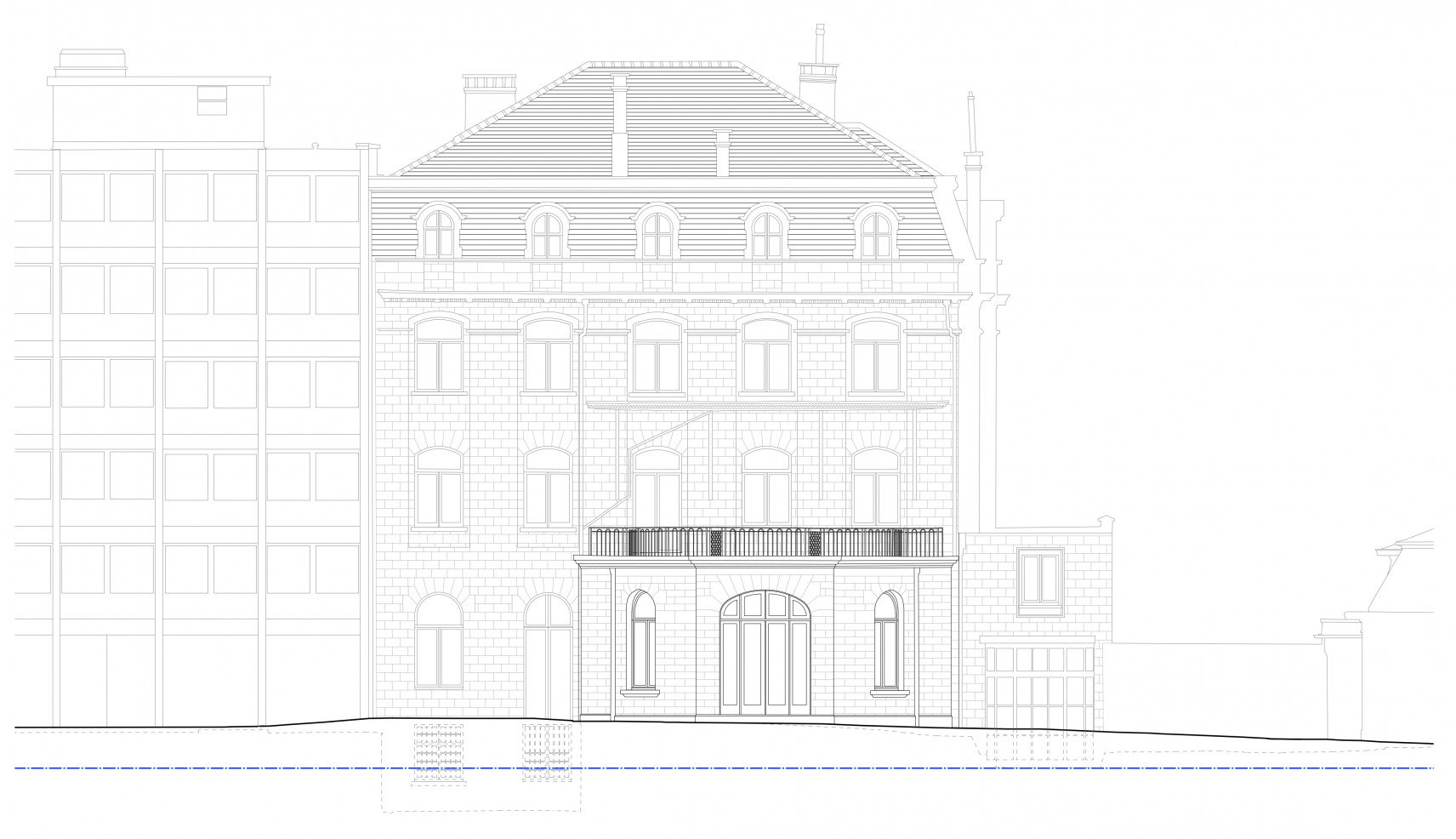 The Mérode, Elsene | 2D drawings back facade