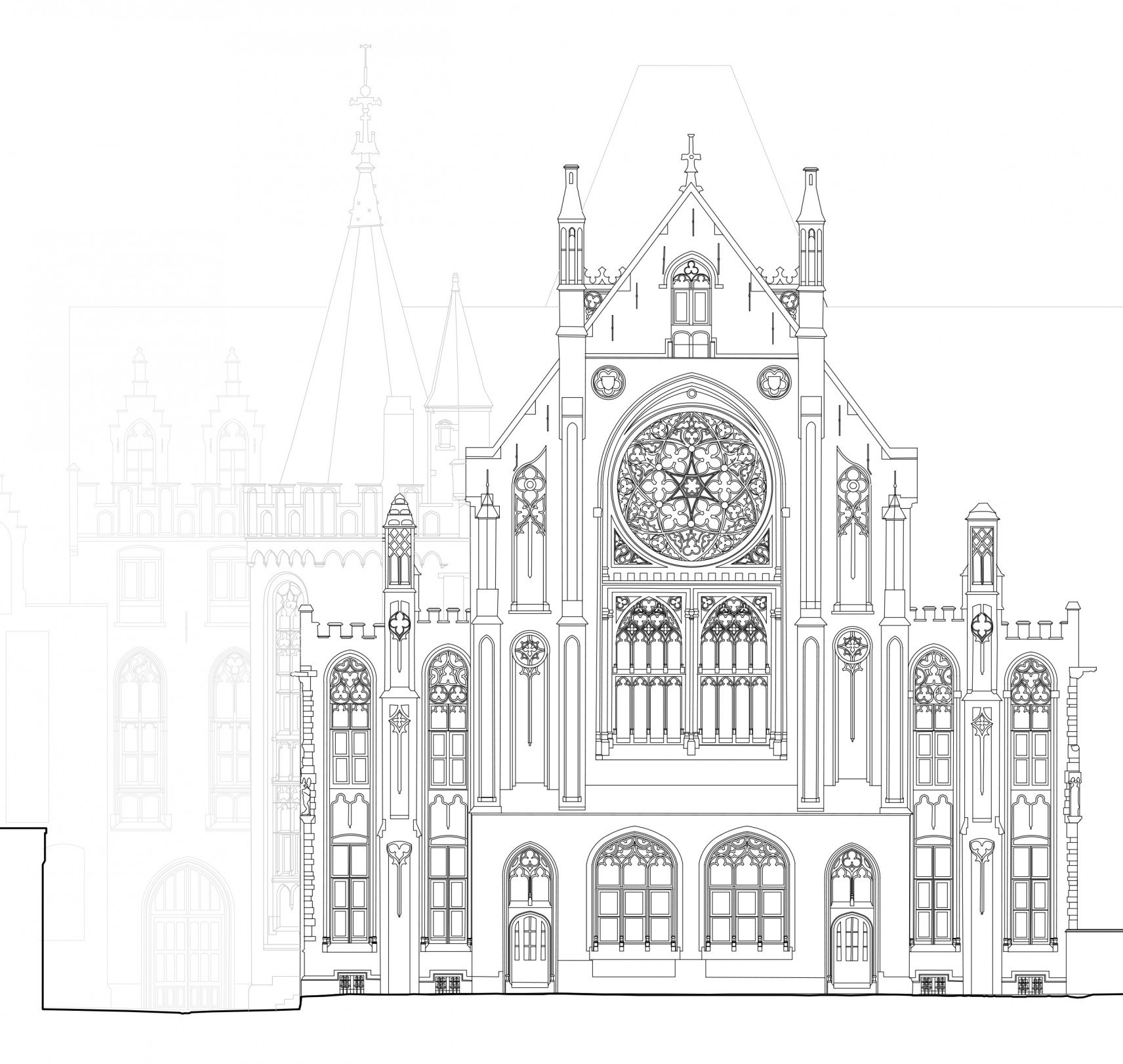 Regional Court, Brugge | 2D drawings back facade
