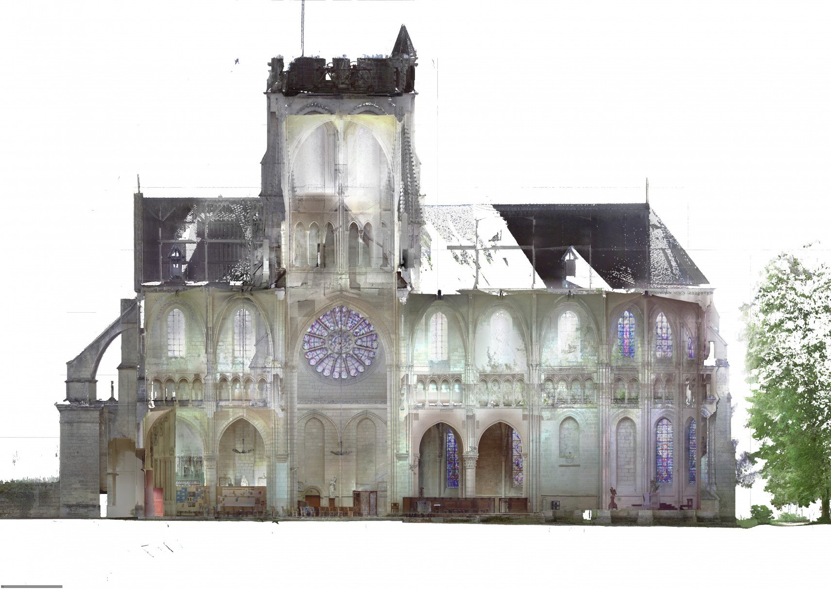 Abbatiale Saint-Yved de Braine, France | 3D-scan section