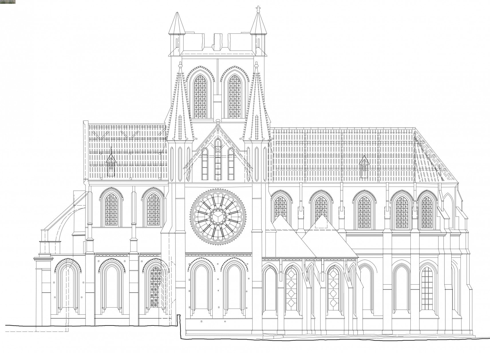 Abbatiale Saint-Yved de Braine, France | 2D-drawings facade right