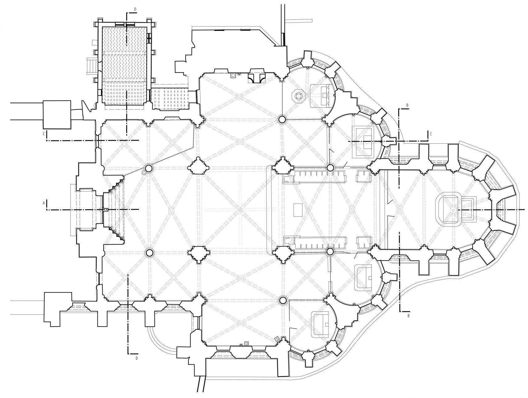 Abbatiale Saint-Yved de Braine, France | 2D-drawings plan overview