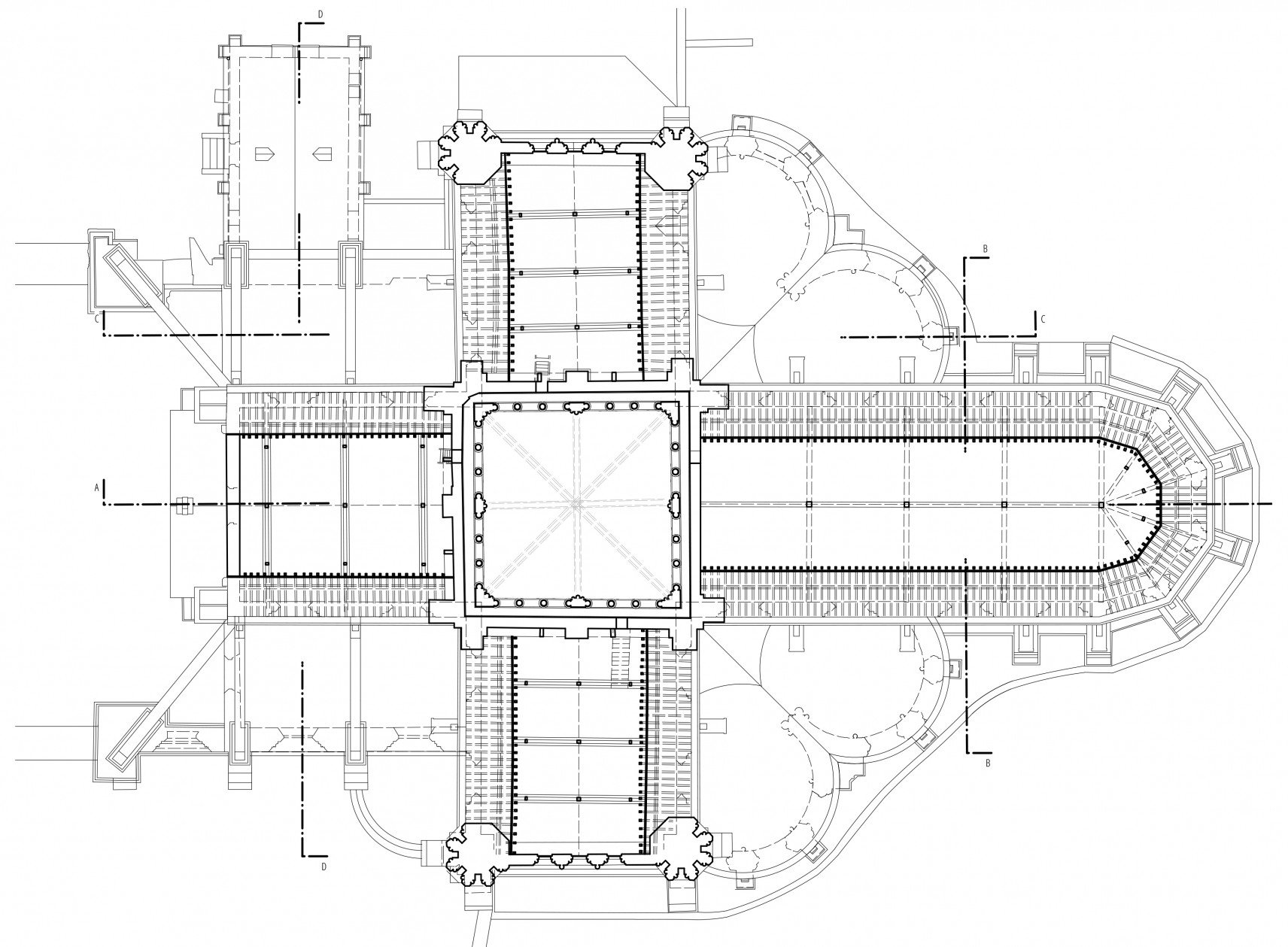 Abbatiale Saint-Yved de Braine, France | 2D-drawings plan overview detail