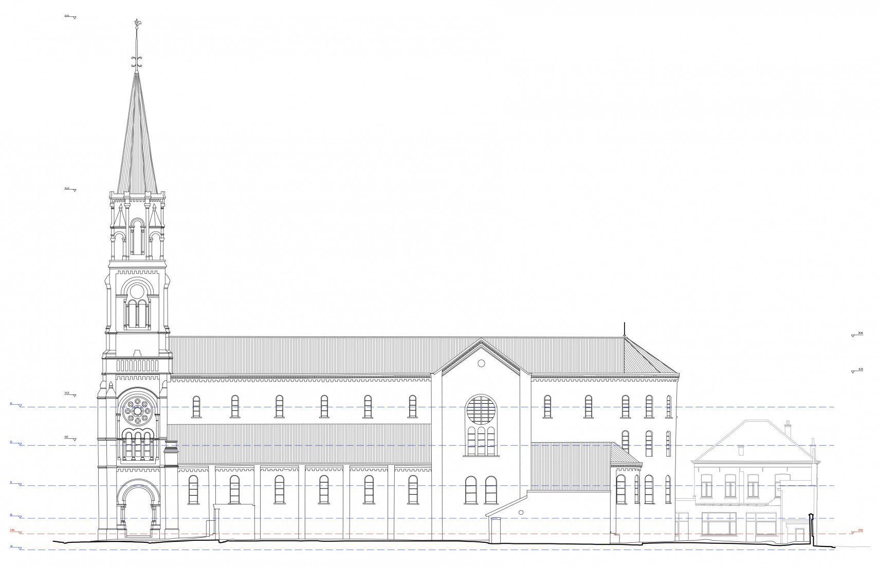 Sint-Amandskerk, Roeselare | 2D-drawings side view right