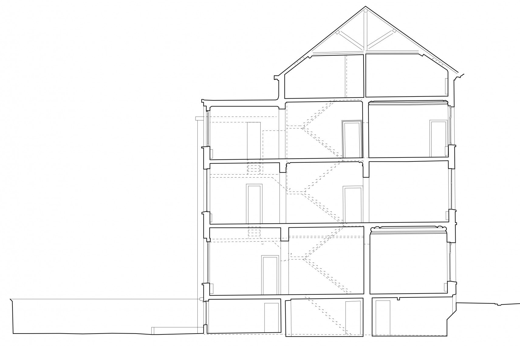 Terraced house E. Feronstraat, Saint Gilles | 2D drawings section