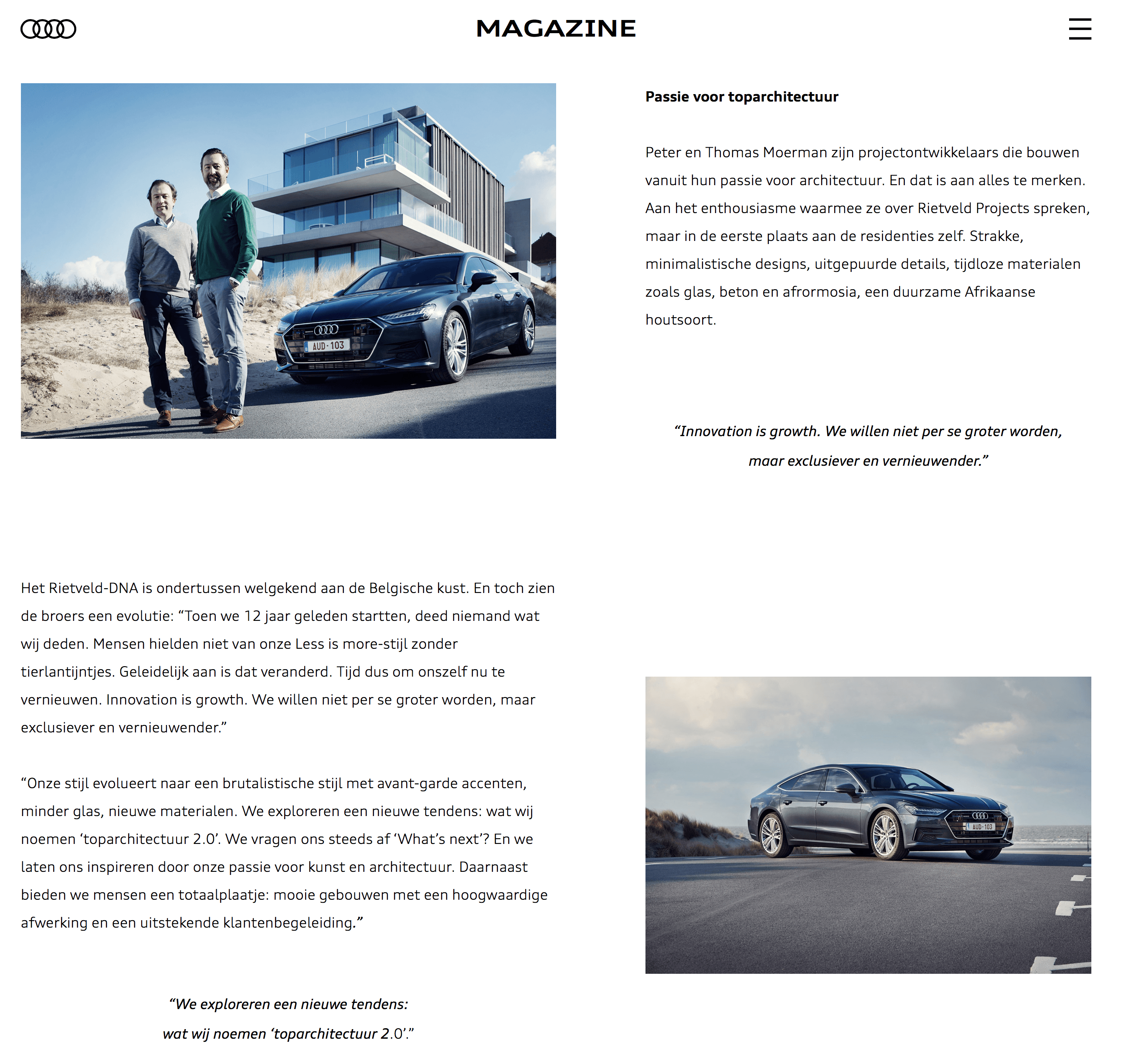 Launch Audi A7 belgique & Rietveldprojects