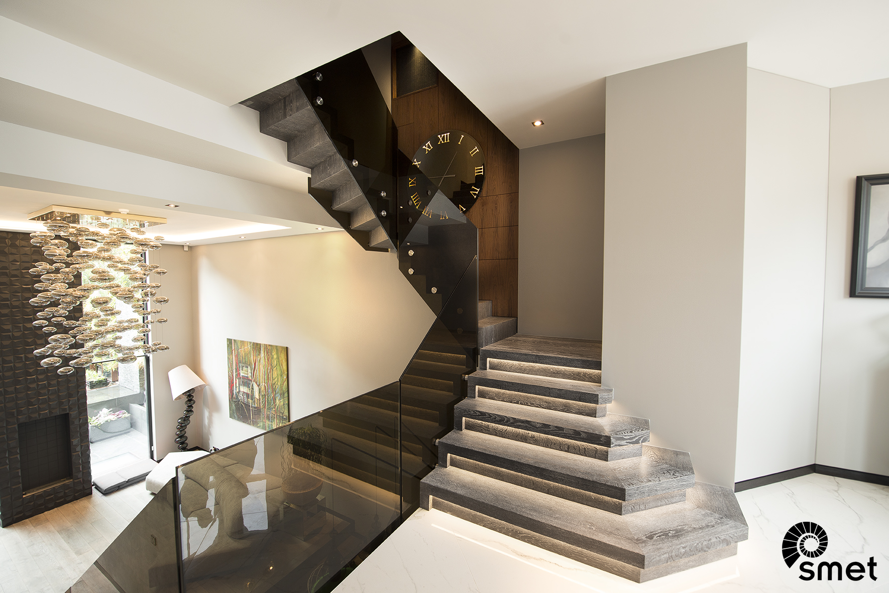 Wooden Staircase With Glass Railing In Chelsea