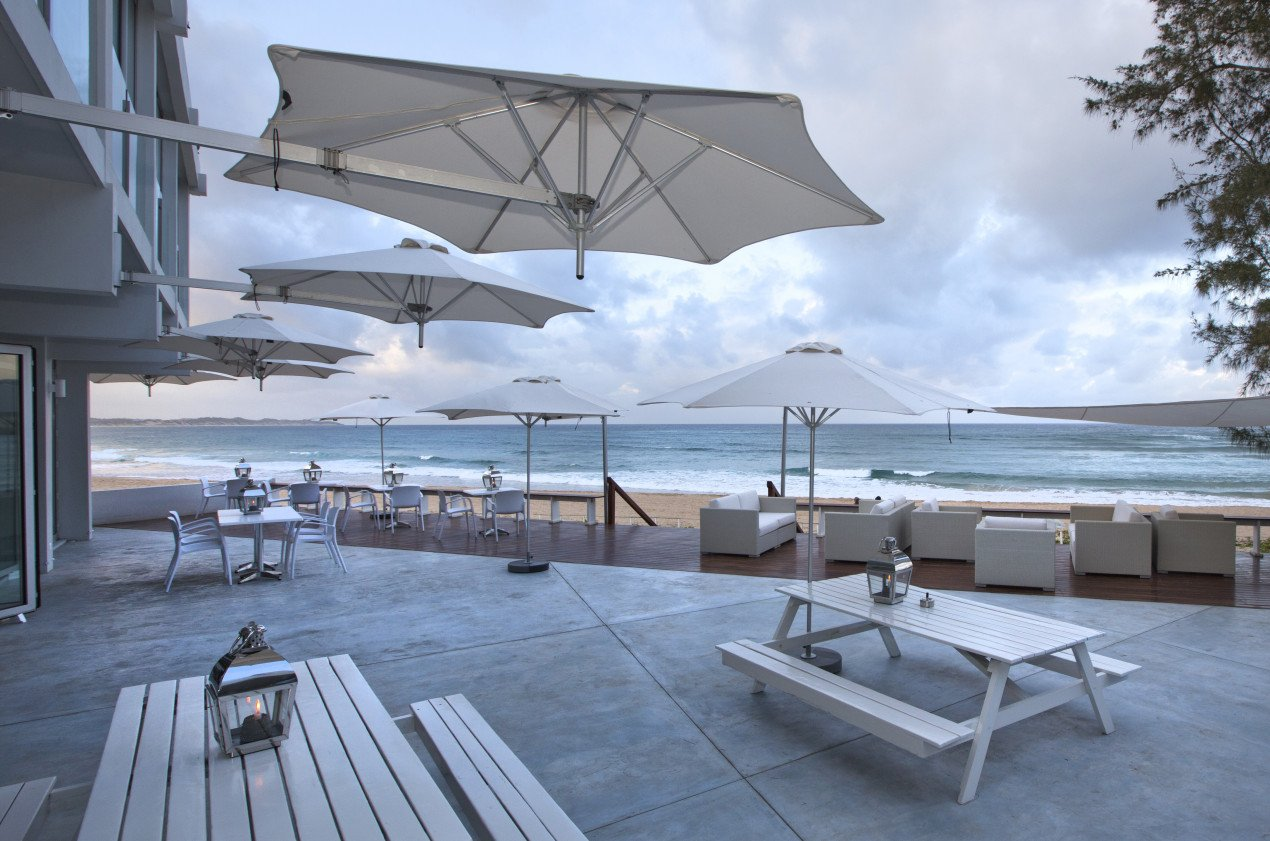 Wallflex parasols at the Tofo Mar Hotel in South Africa